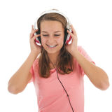 Teen girl with head phones Stock Photos