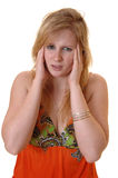 Teen girl with headache. Stock Images