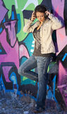 Teen Girl with Headphones Stock Photography