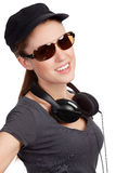 Teen girl with headphones Royalty Free Stock Images