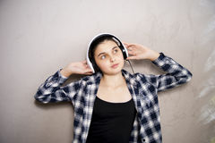 Teen girl in headset Royalty Free Stock Photography