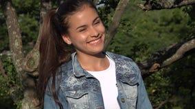 Teen Girl Hears Joke And Laughs stock footage