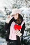 Teen girl heart in his hands Royalty Free Stock Image