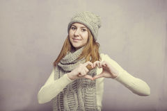 Teen girl and the heart sign Stock Photo