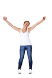 Teen girl with her hands up Royalty Free Stock Photography