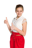 Teen girl with her thumbs up Stock Image