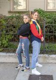 Teen Girl hip hop dancer and her youthful Mother in Saint Louis for National Dance Week. Pictured is a fourteen year old teen girl hip hop dancer and her forty Stock Images