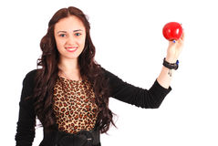 Teen girl holding apple Royalty Free Stock Photography