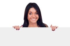 Teen girl holding blank billboard Stock Photos