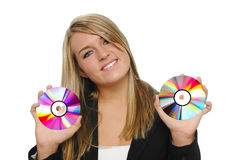 Teen girl holding CDs Stock Images