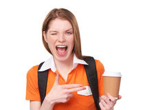 Teen girl holding disposable paper cup Stock Photo
