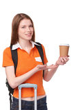 Teen girl holding disposable paper cup Royalty Free Stock Photos