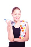 Teen girl holding towel and bottle of water Royalty Free Stock Photography