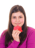 Teen girl holding valentines Stock Images