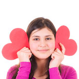 Teen girl holding valentines royalty free stock image