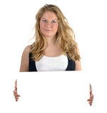 Teen girl holding white card Stock Photo
