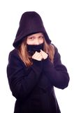 Teen girl in hood Stock Photo