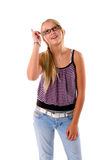 Teen girl with an idea Royalty Free Stock Photos