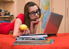 Teen Girl In Front Of Computer Stock Photography