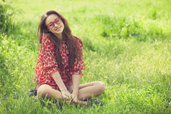 Teen Girl In Glasses In Park. Royalty Free Stock Photo