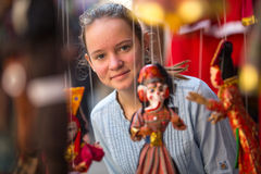 Teen-girl in a Indian souvenir shop. Travel. Stock Photo