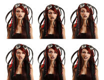 Teen girl informal ciber punk emotional set facial expressions Royalty Free Stock Photos