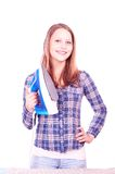 Teen girl ironing clothes Royalty Free Stock Photography