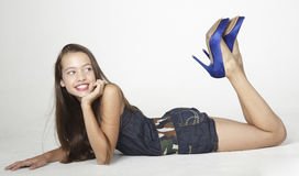 Teen girl in jean shorts Royalty Free Stock Image
