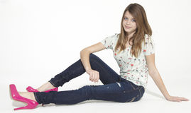 Teen Girl in Jeans Royalty Free Stock Photography