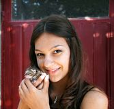 Teen girl with a kitty Stock Photo
