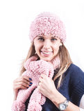 Teen girl with knit hat and cardigan. Teen geril with knit hat and blue cardigan Stock Photo