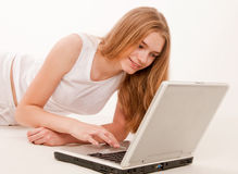 Teen Girl on Laptop Royalty Free Stock Photography