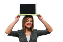 Teen girl with laptop computer Stock Image