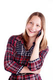 Teen Girl Laughing And Talking On The Phone Royalty Free Stock Photos