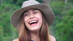 Teen Girl Laughing And Having Fun stock video footage