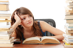 Teen girl learning Stock Images