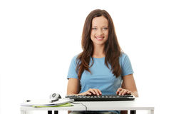 Teen girl learning Royalty Free Stock Images