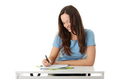 Teen girl learning Stock Photo