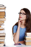 Teen girl learning at the desk Royalty Free Stock Photography
