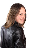 Teen girl in leather jacket Stock Photos
