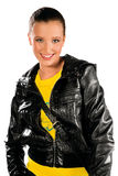 Teen girl in leather jacket Stock Photography