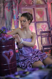 Teen girl in a lilac dress Royalty Free Stock Photo