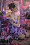 Teen girl in a lilac dress Royalty Free Stock Images
