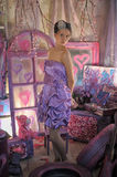 Teen girl in a lilac dress Royalty Free Stock Photography