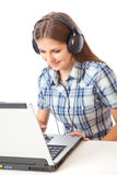Teen-girl listen to music Stock Images