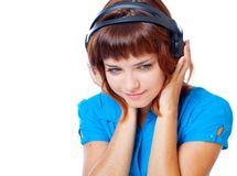 Teen-girl listen to music in headphones Stock Photography