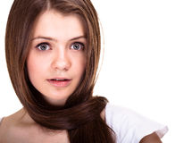 Teen girl with long hairs and clean skin Royalty Free Stock Image