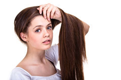 Teen girl with long hairs and clean skin Stock Photo