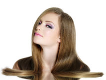 Teen girl with long straight hair Stock Photos