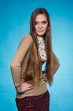 Teen girl with long straight hair Royalty Free Stock Photo